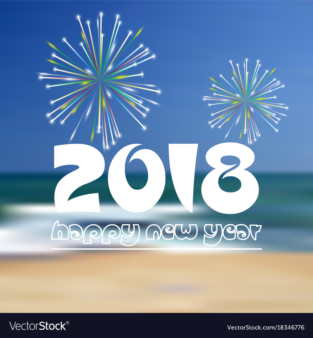 Happy new year 2018 on blue beach like abstract vector image