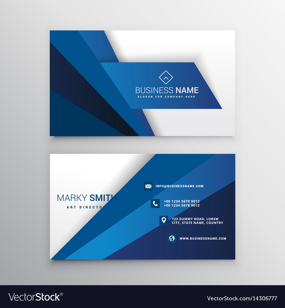 Blue and white corporate business card design Vector Image