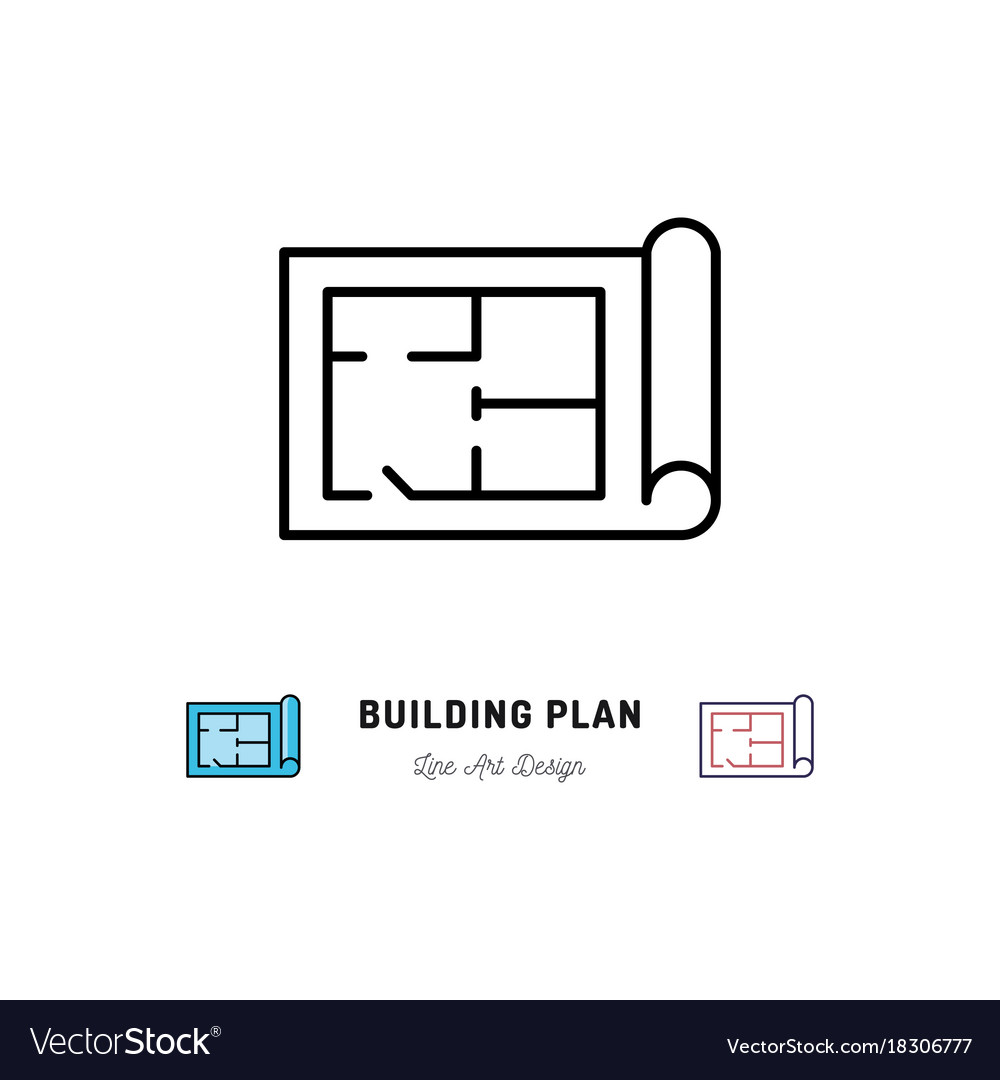 Building plan icon outline symbol of construction vector image buycottarizona Image collections