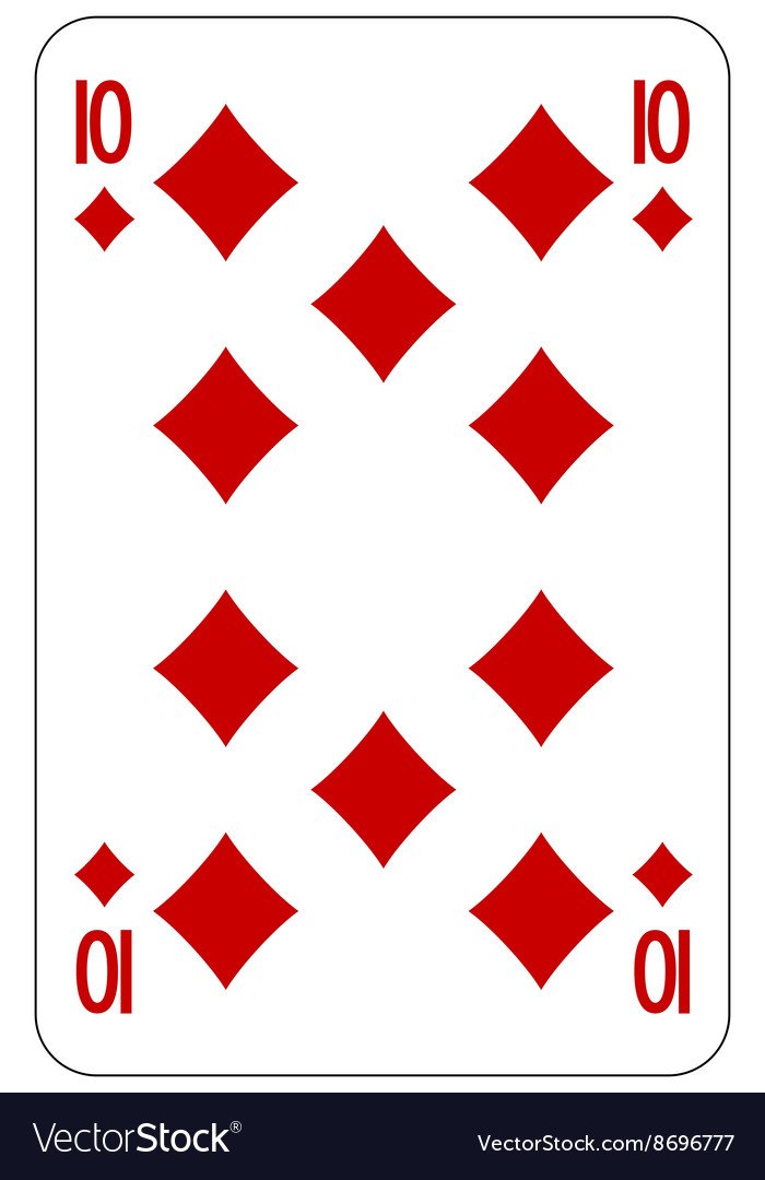 Poker playing card 10 diamond vector image