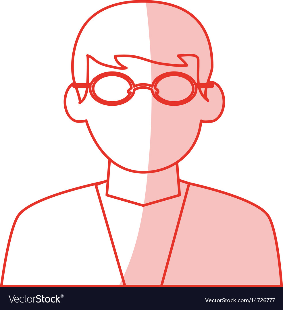 Red shading silhouette cartoon half body dentist vector image