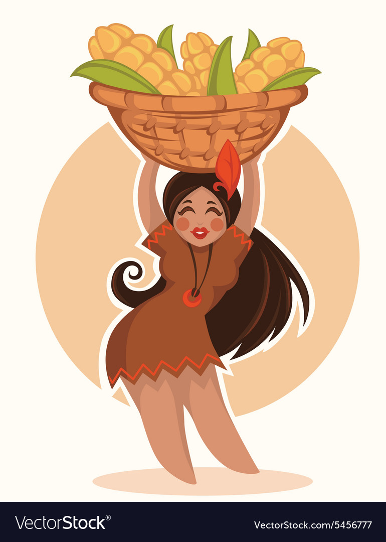 Thanksgiving girl vector image