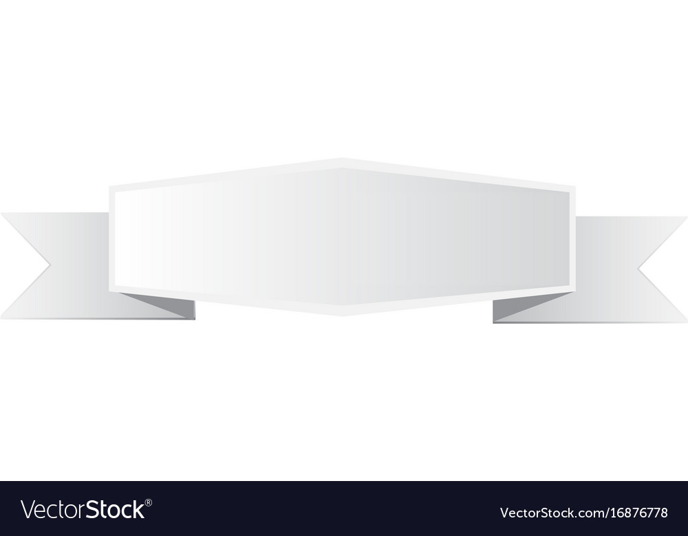 White banner sign gray ribbon banner on white vector image
