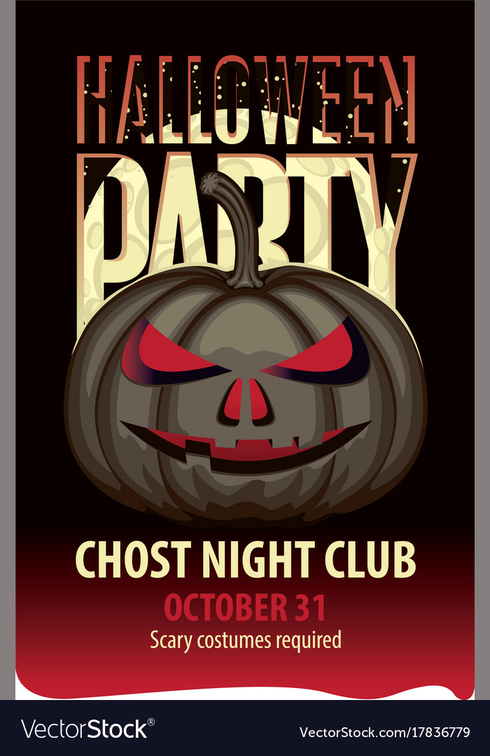 Banner for halloween party with a spooky pumpkin vector image