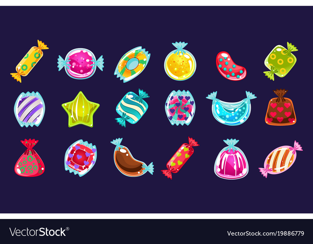 Collection of various colorful candies in glossy vector image