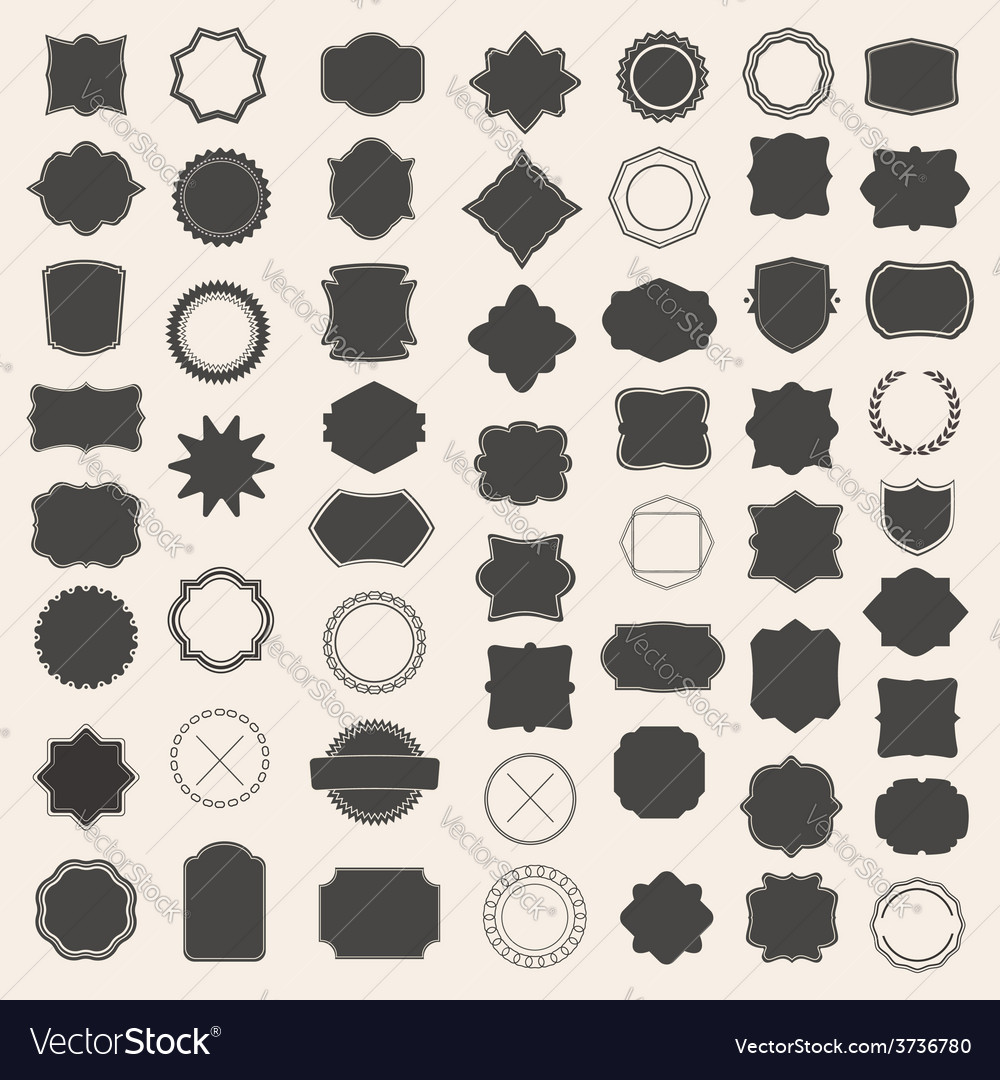 Large set of blank frame badge and label vector image