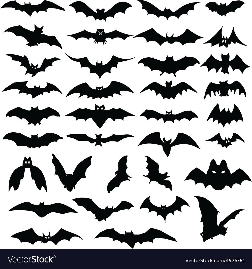 Halloween bats silhouettes vector image