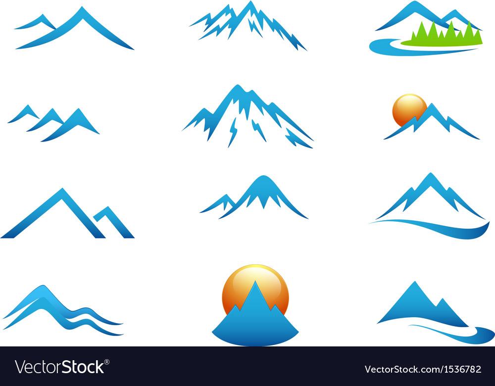 Mountain icon collection set vector image