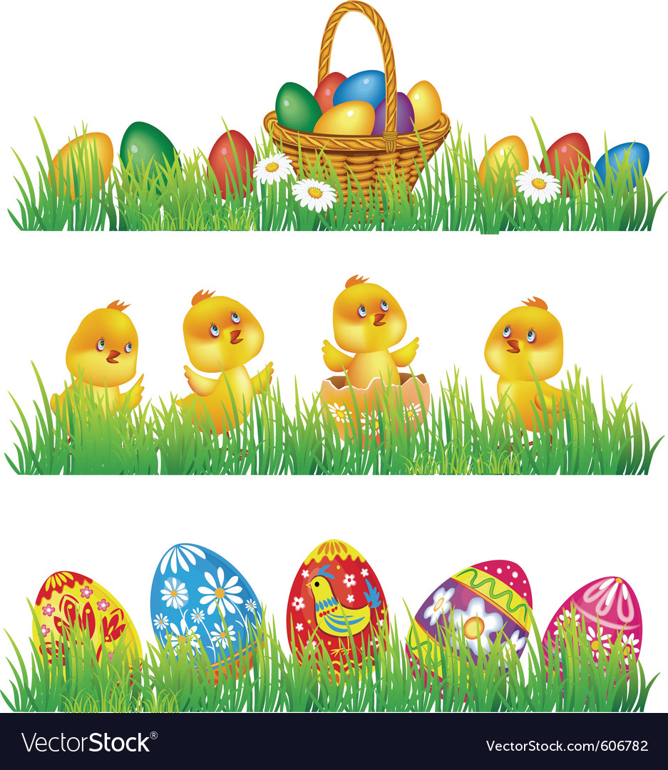 Easter Eggs And Chicken In Grass Vector Image