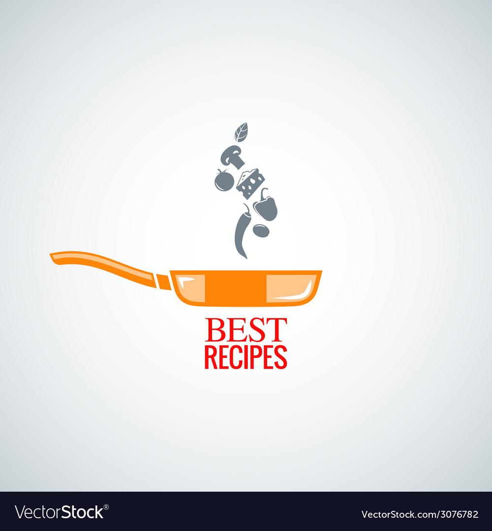 Frying pan design background vector image