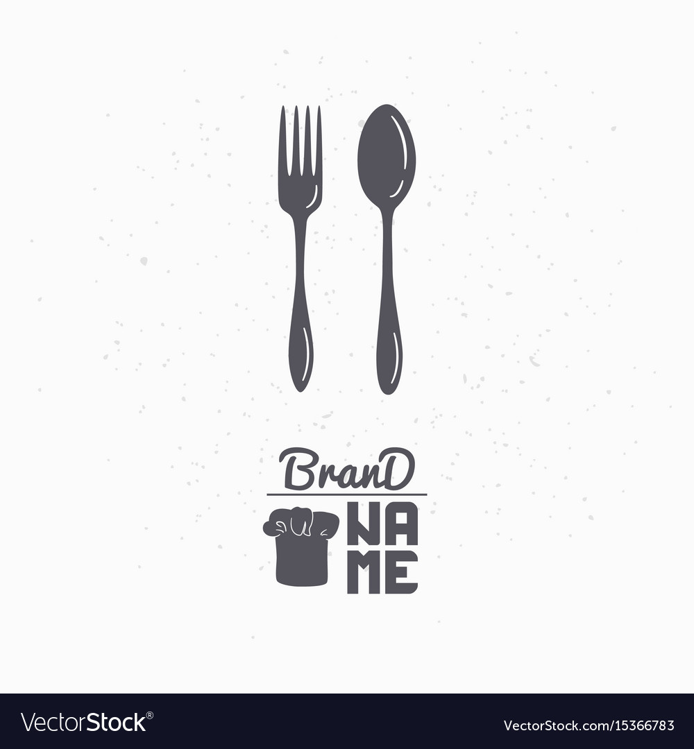 Hand drawn silhouette of spoon and fork vector image