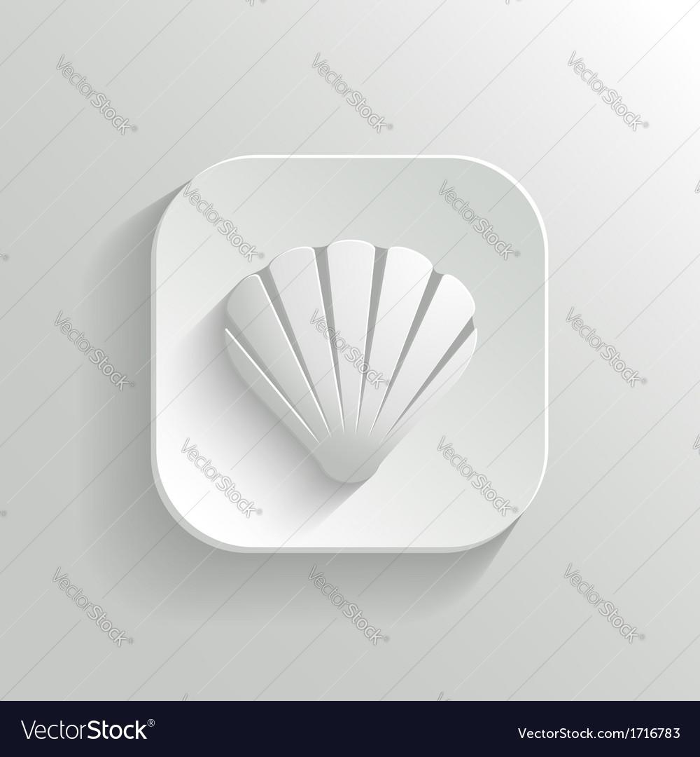 Shell icon - white app button vector image
