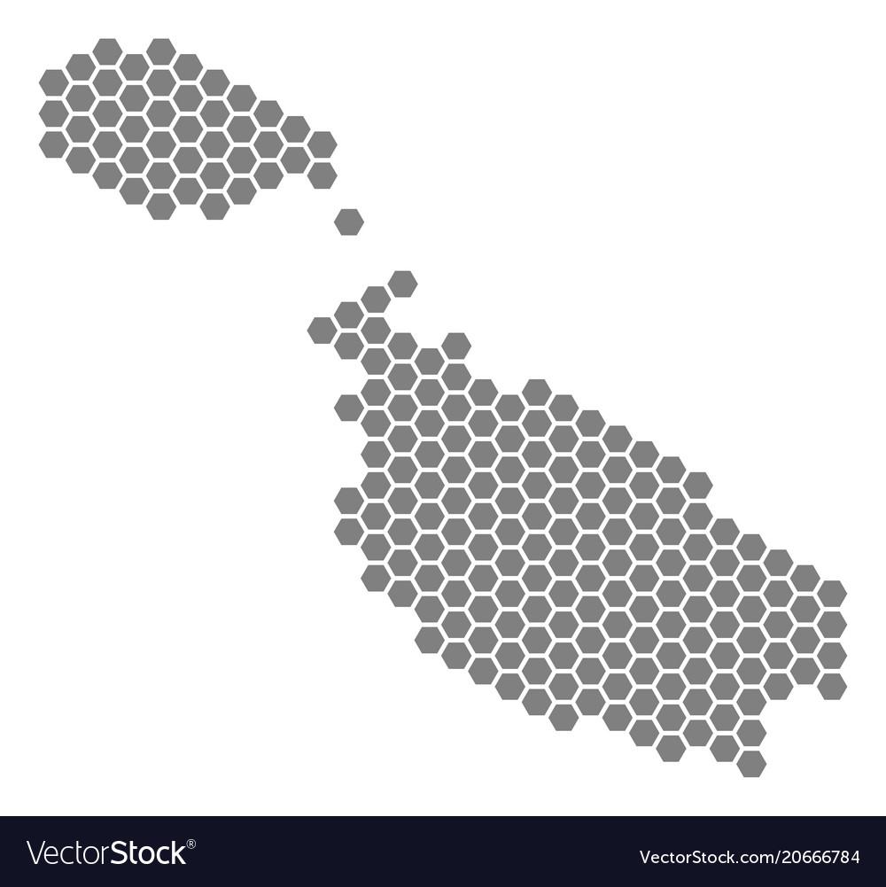 Grey hexagon malta island map Royalty Free Vector Image