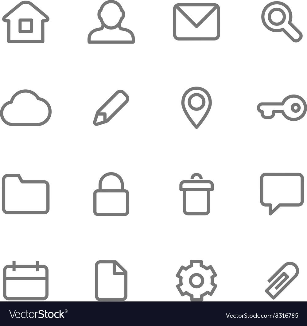 Icons for simple minimalist design vector image