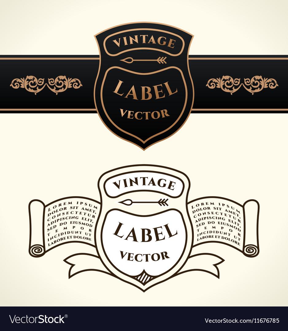 Vintage shield emblems Crests logo set vector image