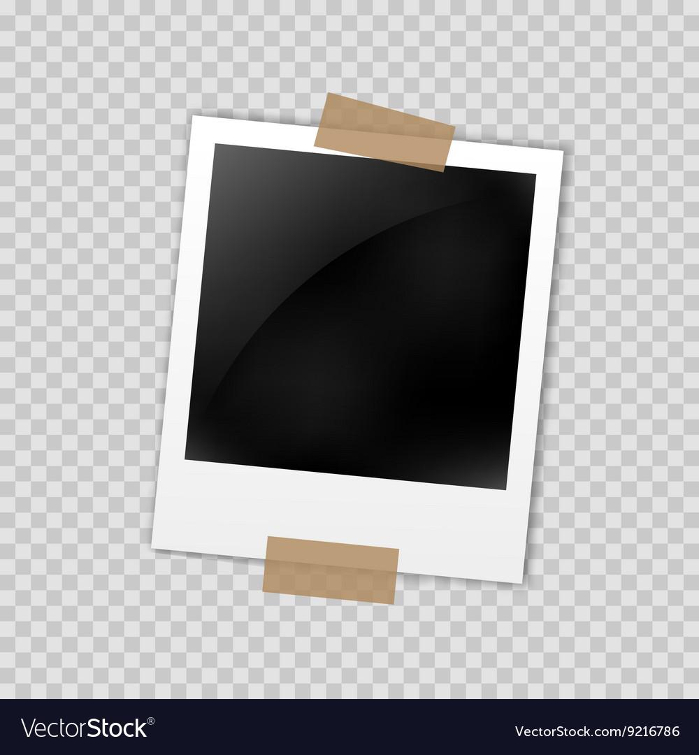 Photo frame polaroid template on transparent grid vector image photo frame polaroid template on transparent grid vector image pronofoot35fo Gallery