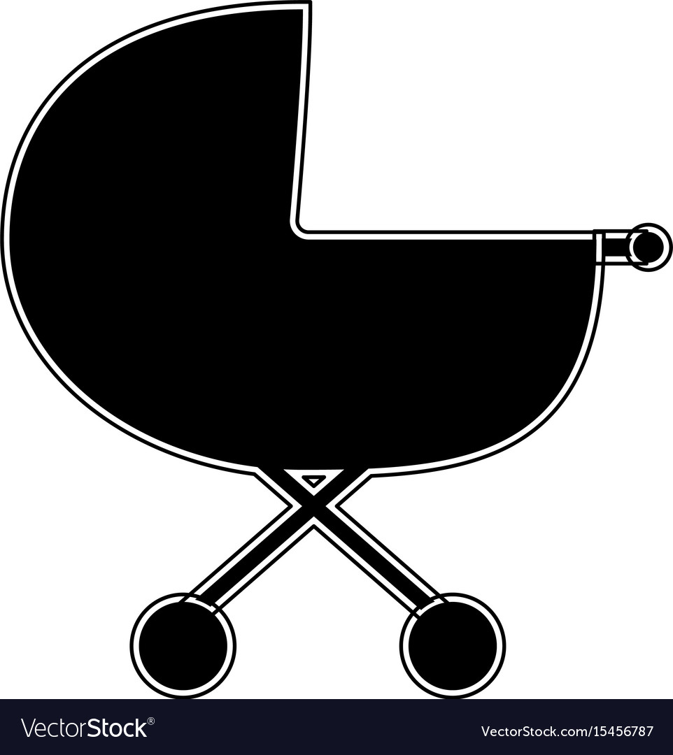 Baby carriage the black color icon vector image