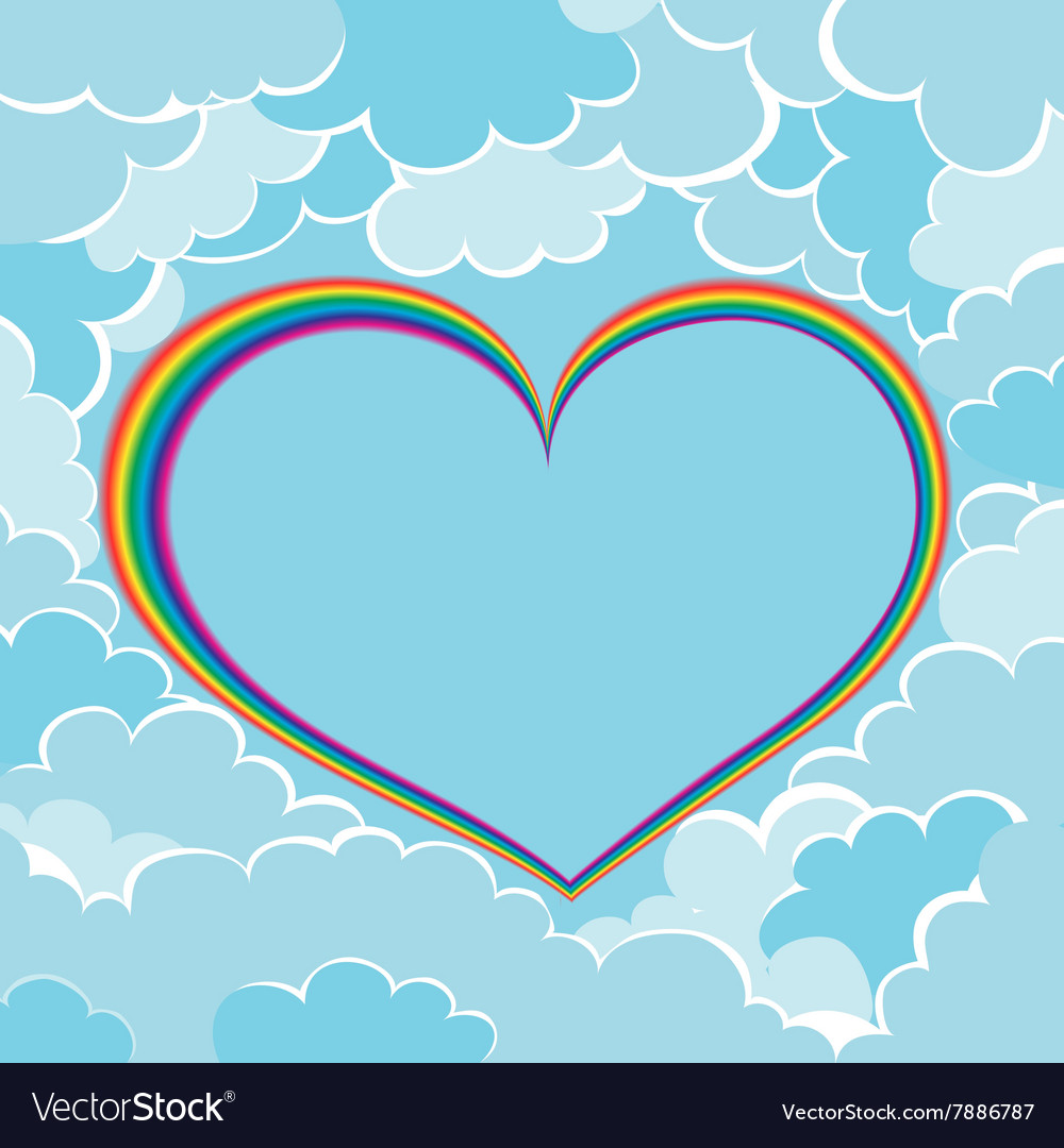 Rainbow heart in clouds vector image