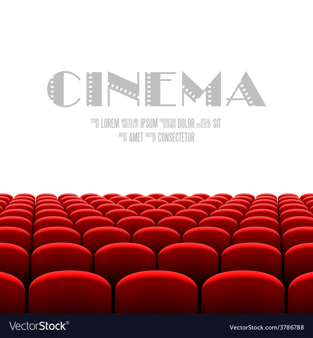 Cinema auditorium with white screen vector image