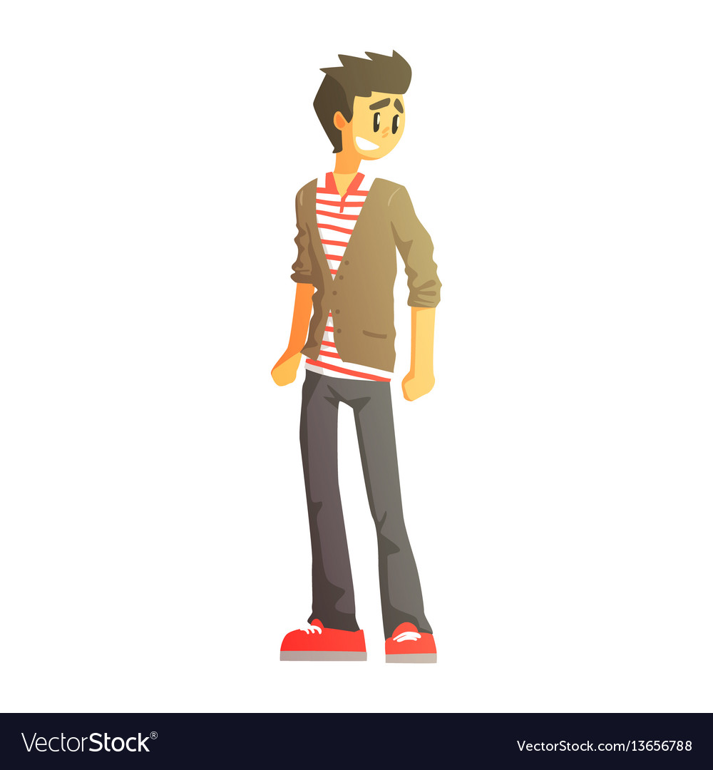 Guy in polo t-shirt cardingan and trainers young vector image