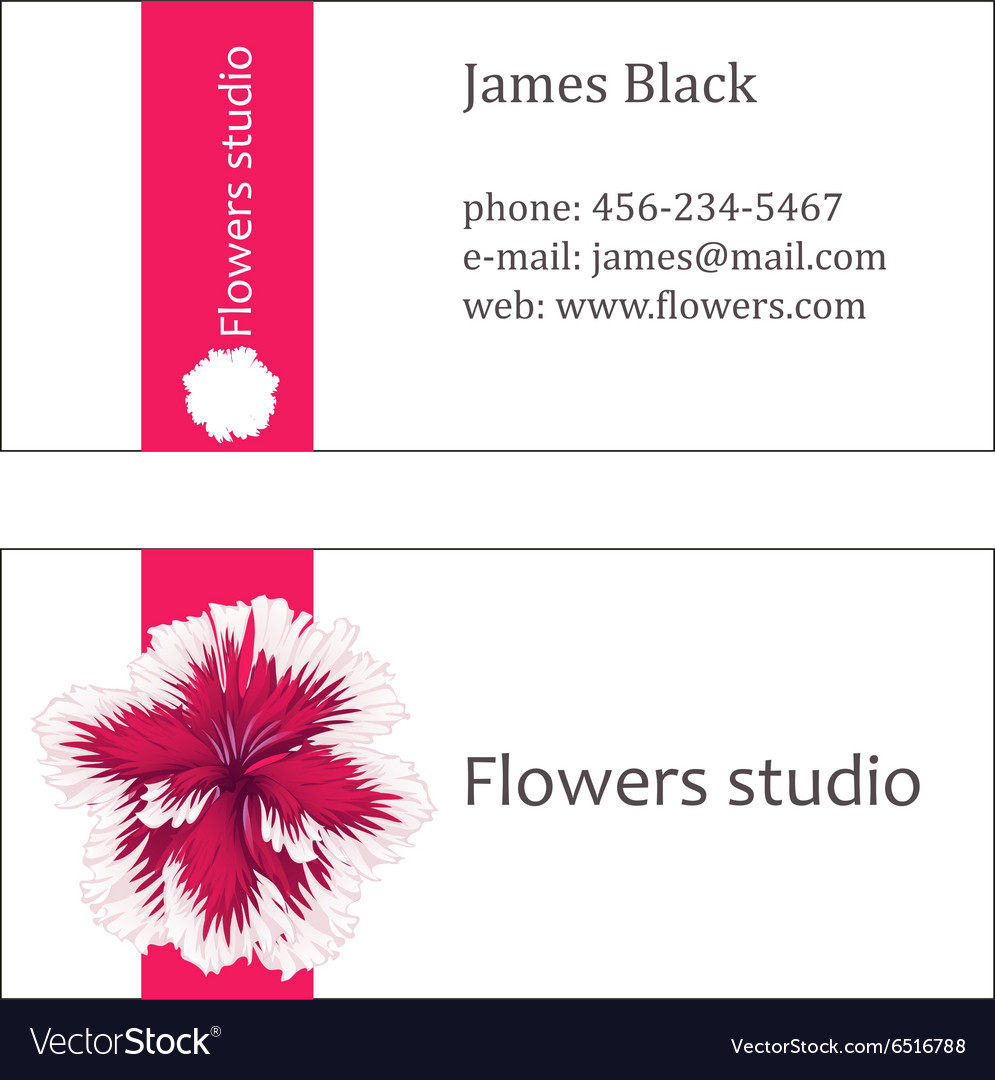 Pink floral design horizontal business card Vector Image