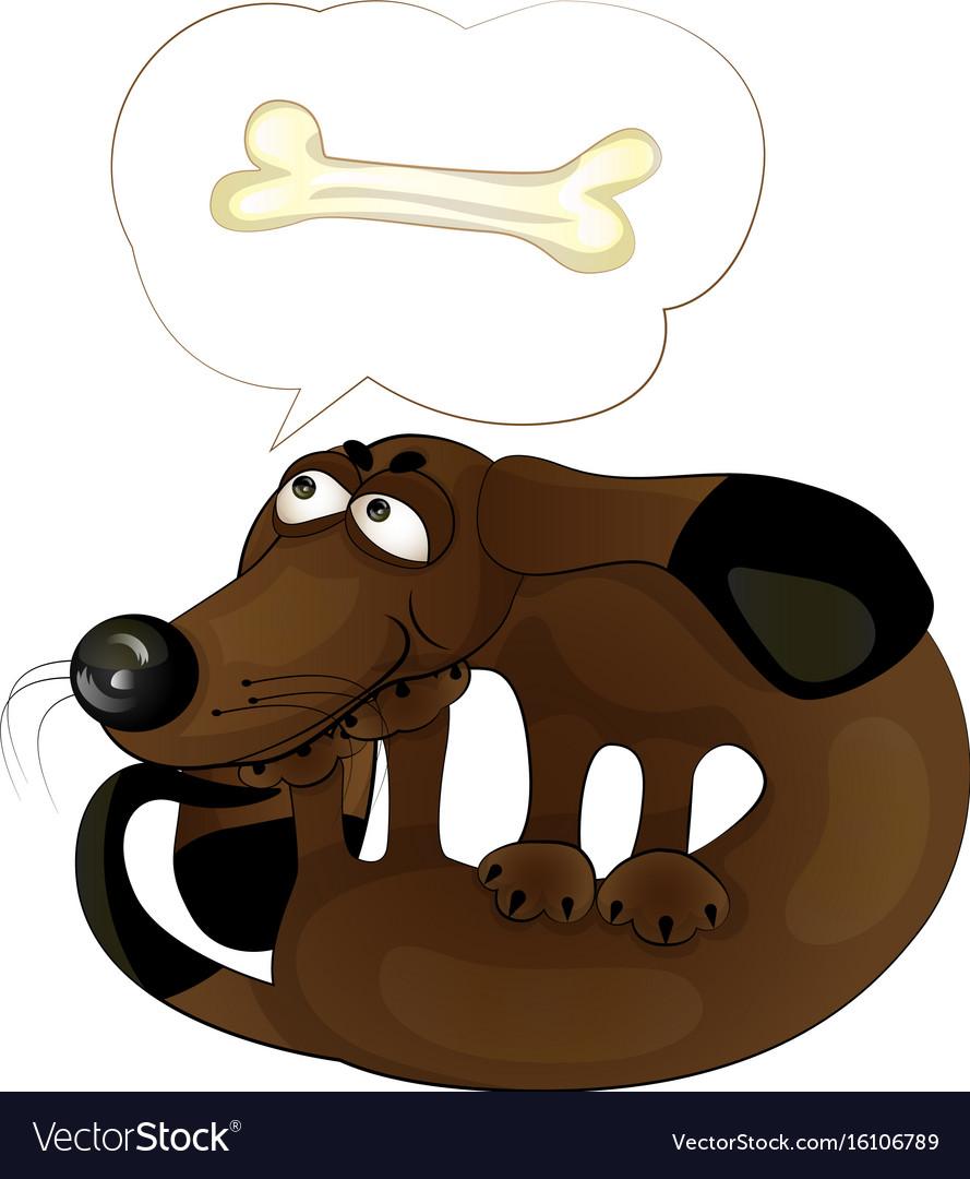 Cartoon funny dog with a bone vector image