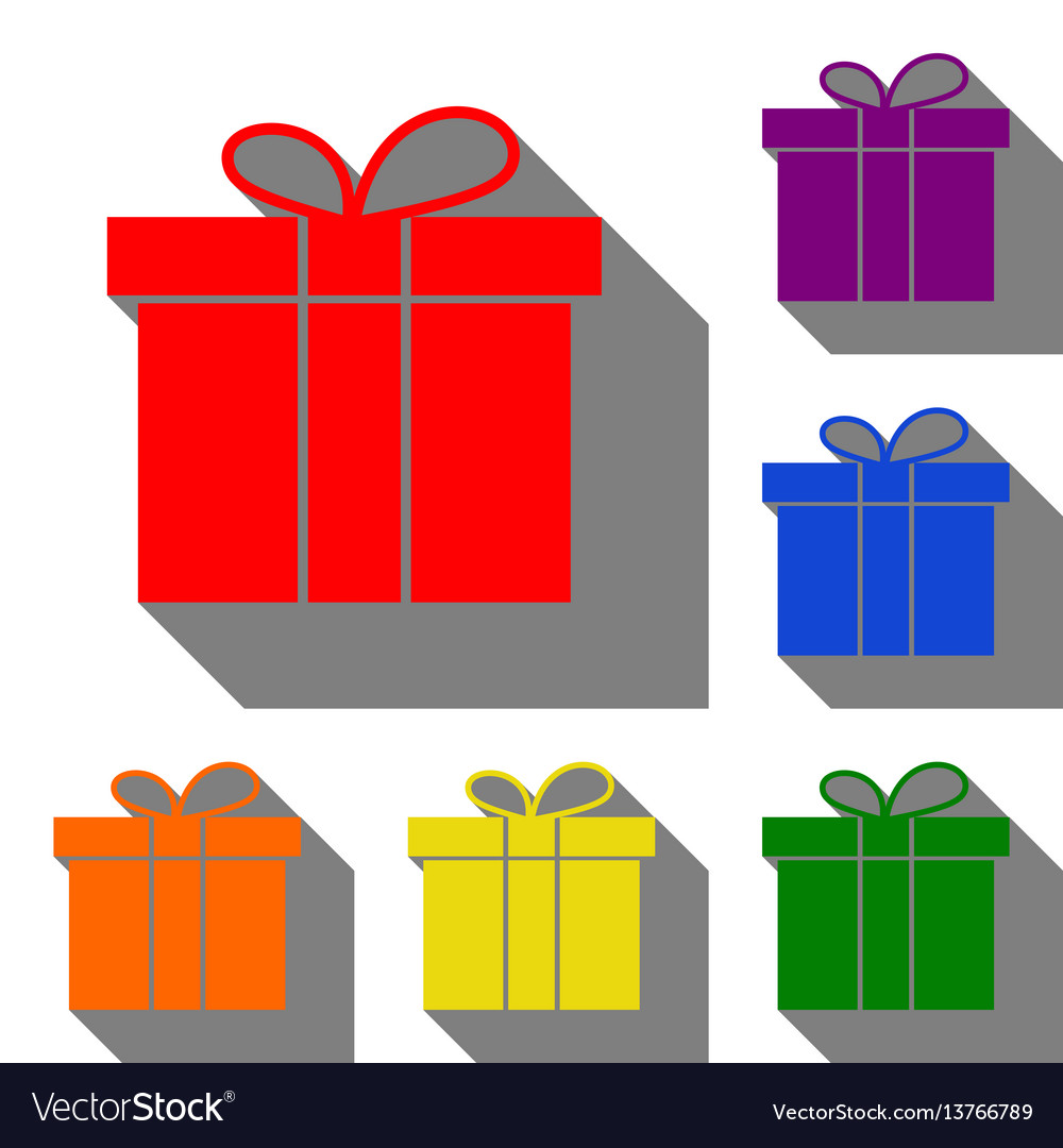 Gift box sign set of red orange yellow green vector image