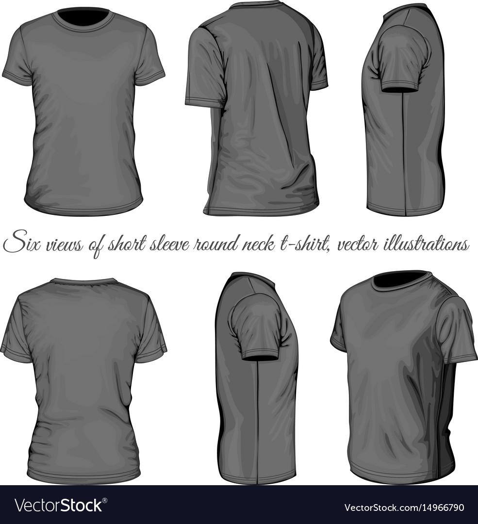 Black t shirt vector - Six Views Of Black T Shirt Vector Image