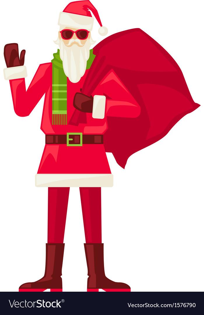 Cartoon Santa Claus in sunglasses isolated vector image