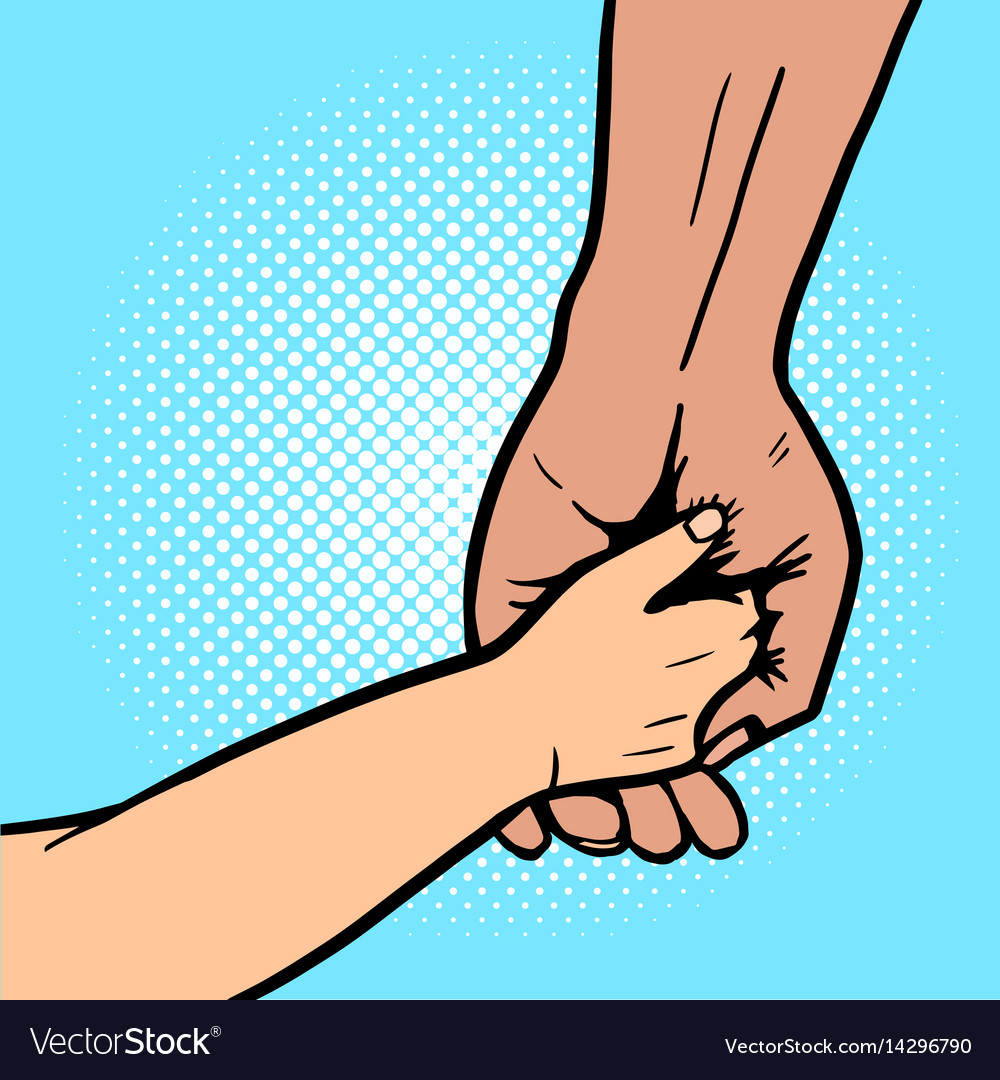 Baby holds hand of parent pop art vector image