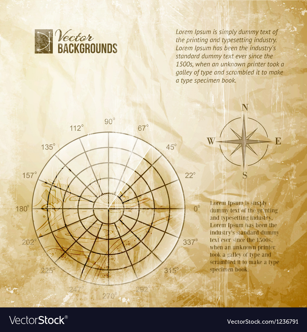 Vintage radar screen vector image