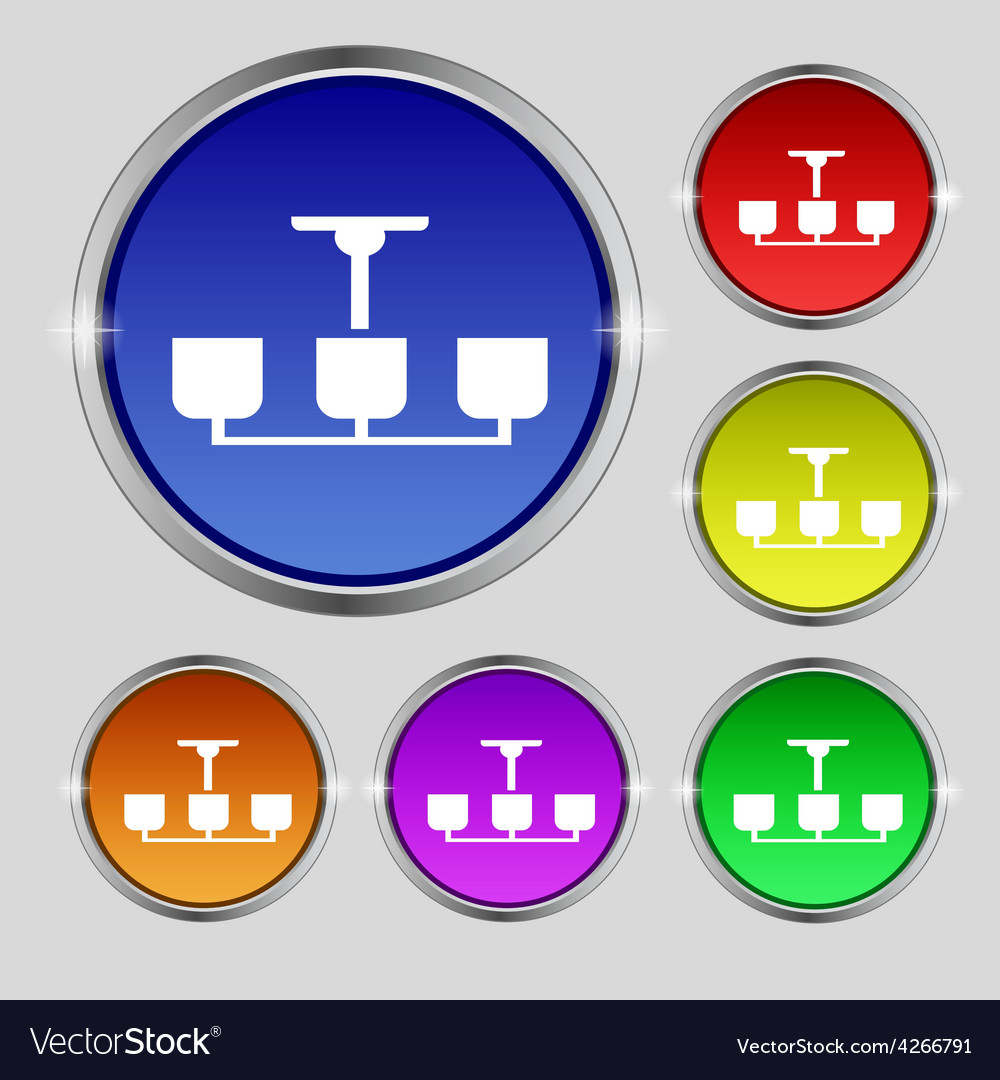 Chandelier Light Lamp icon sign Round symbol on Vector Image