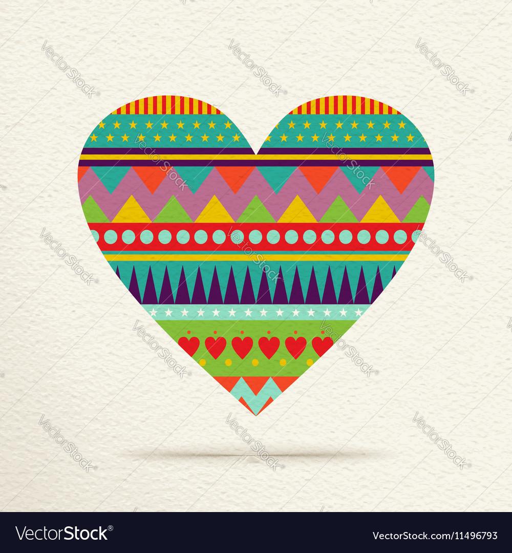 Colorful heart design in fun geometric shape style vector image