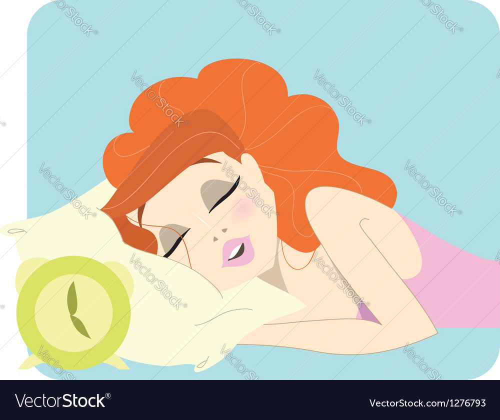 Cute redhead woman sleeping next to a clock vector image