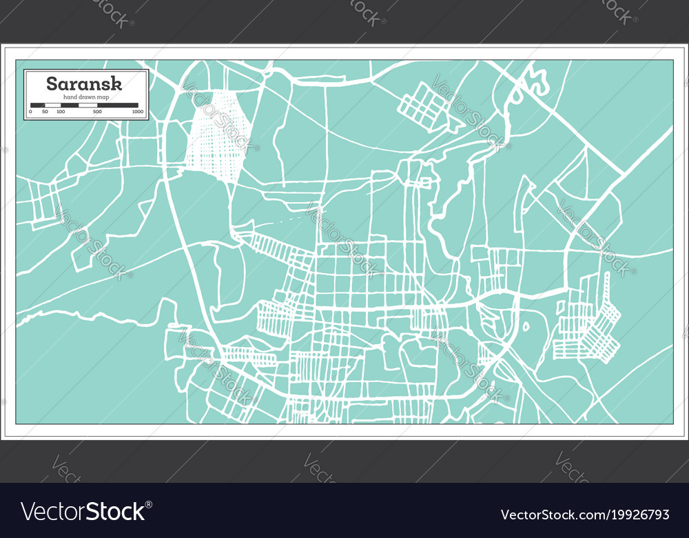 Saransk Russia City Map In Retro Style Outline Map - Saransk map