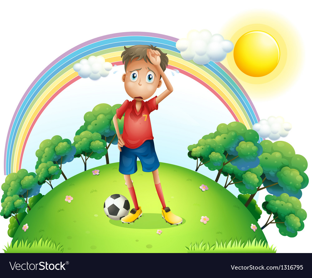 A tired soccer player at the top of the hill vector image