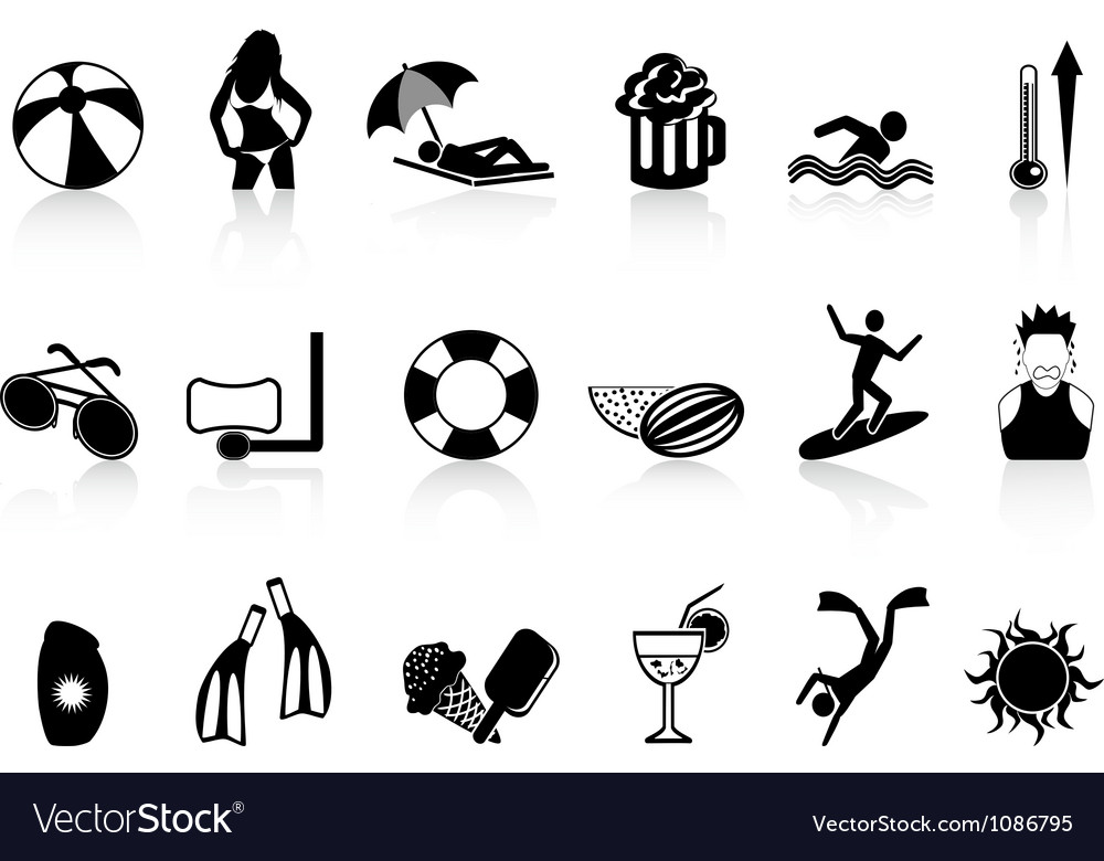 Black summer heat icons set vector image