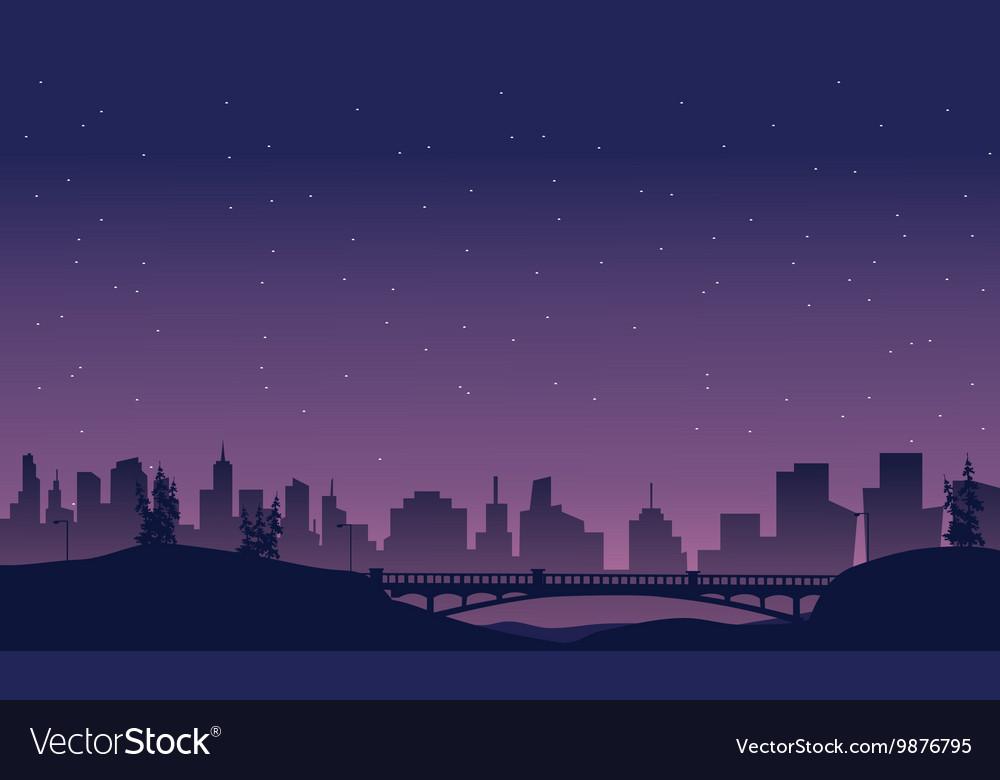 Bridge and city landscape of silhouette vector image