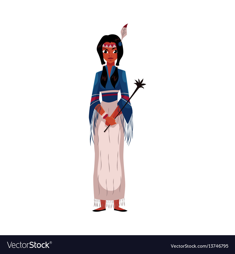 Native american indian woman in national fringed vector image