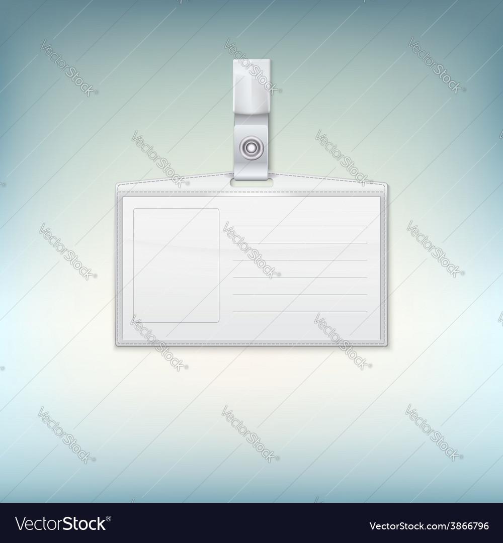 Badge holder on colored backgroound vector image