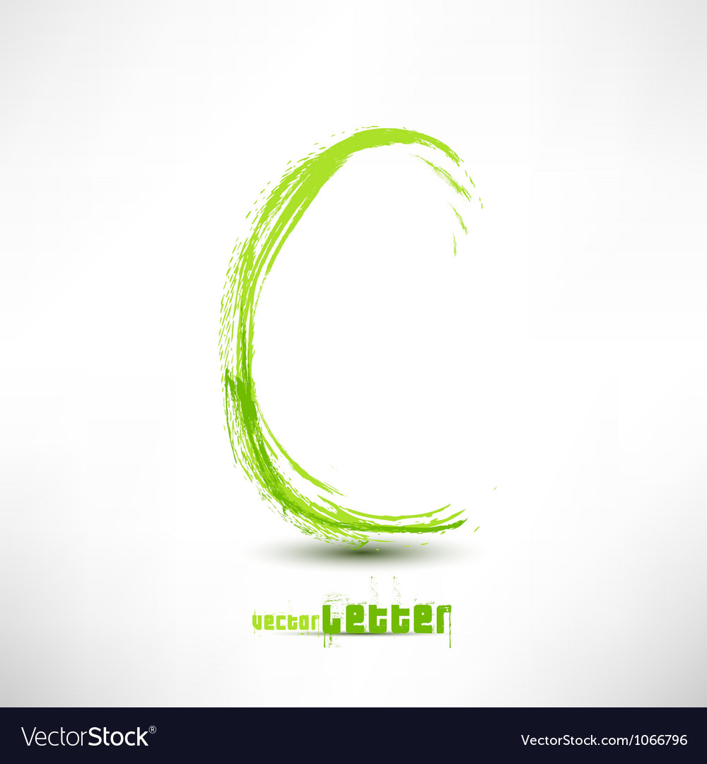 Drawn by hand letter Grunge green grass wav vector image
