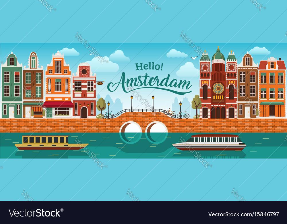 Flat amsterdam panorama holland river sea canal vector image