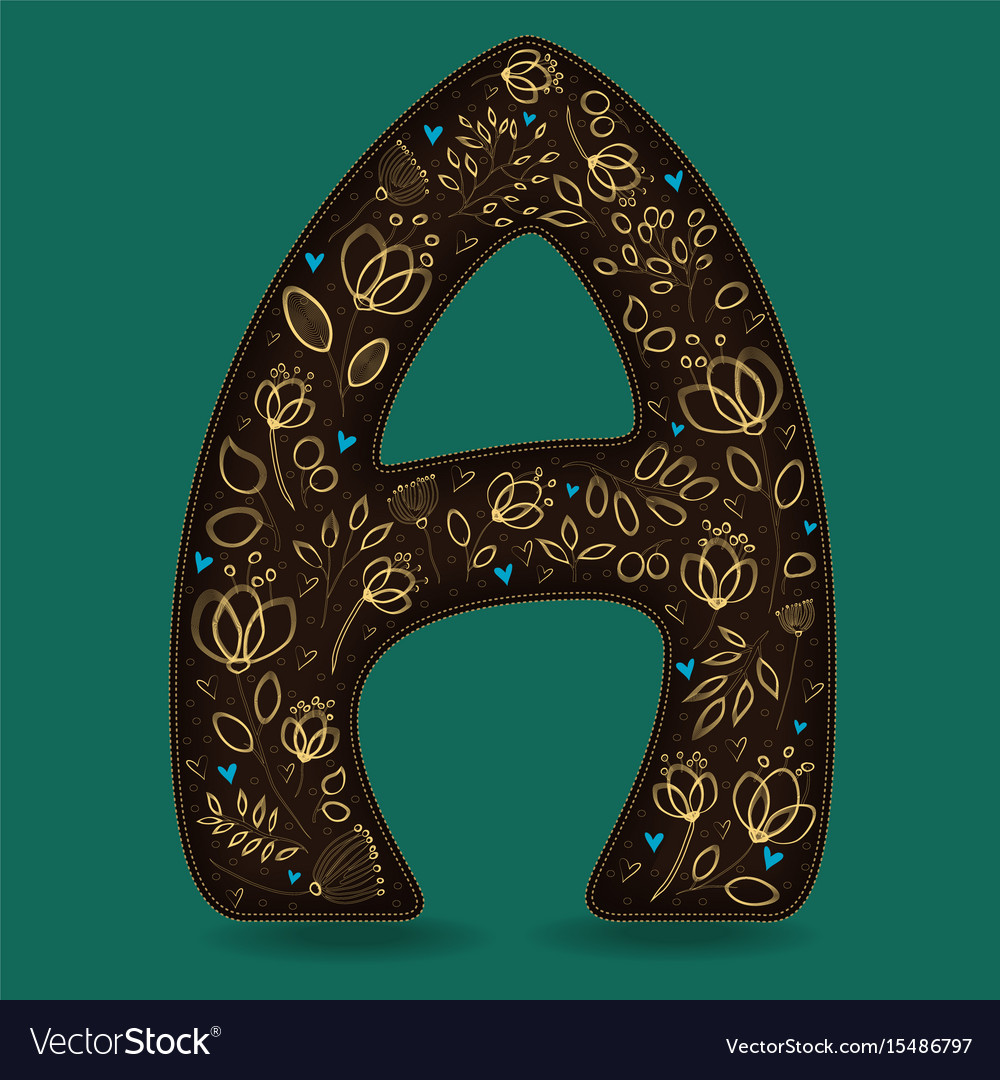 Letter a with golden floral decor vector image