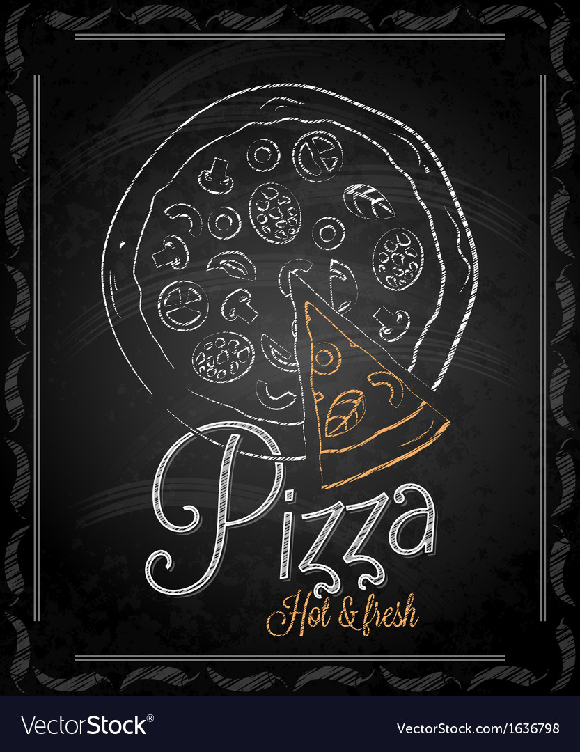 Chalkboard pizza vector image