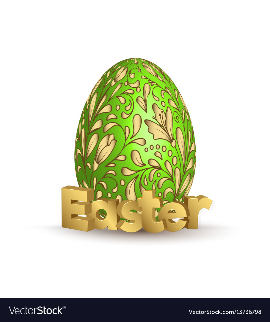 Easter egg icon egg with hand draw golden vector image