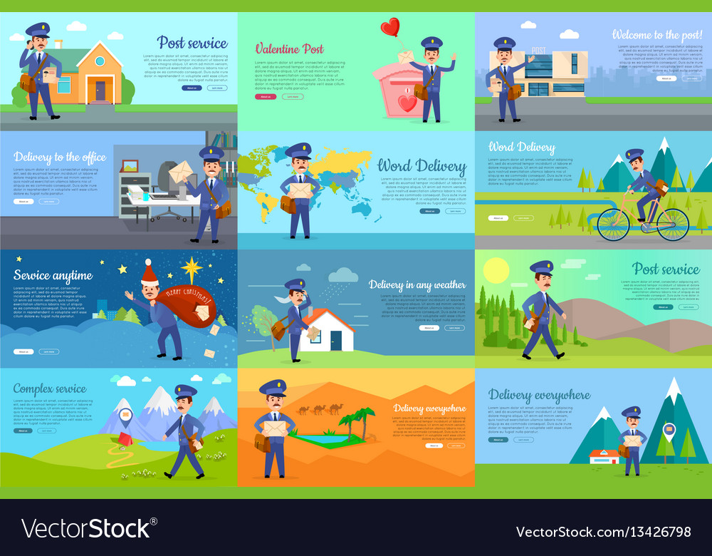 Set of icon with postman characters and mail boxes vector image