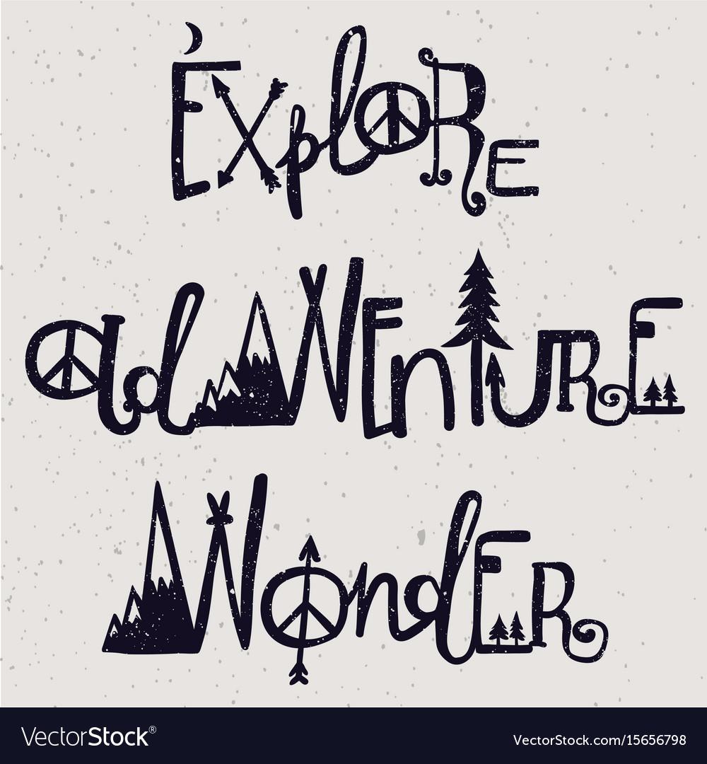 Wonder adventure and exploration lettering set vector image