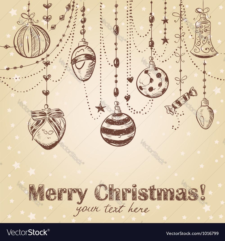 Christmas hand drawn decorative postcard vector image