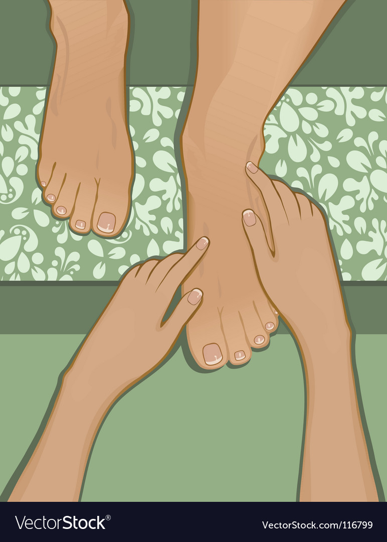 French pedicure and foot massage vector image