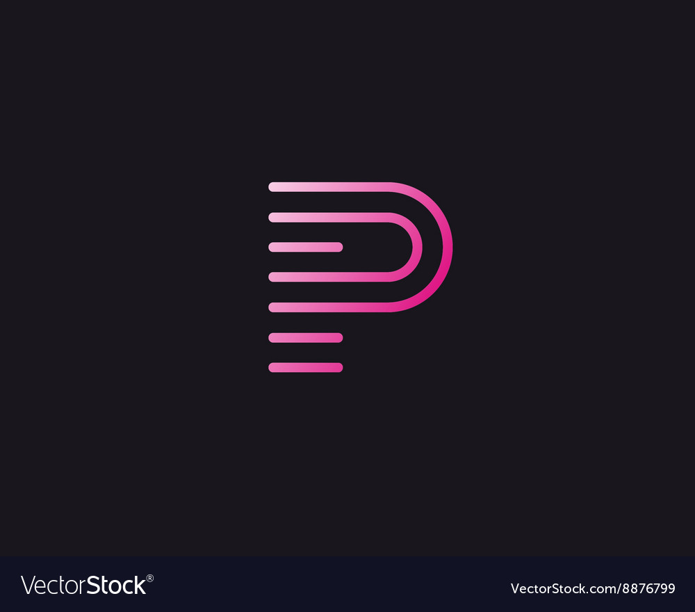 Line letter P logotype Abstract moving airy logo vector image